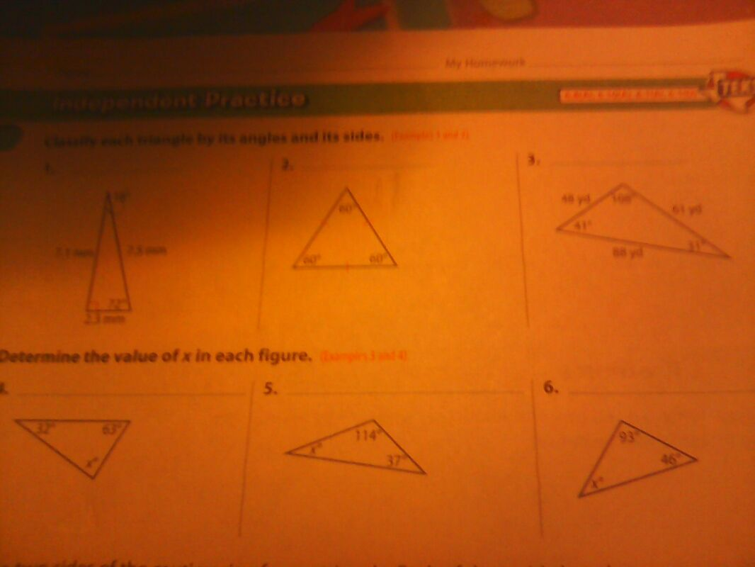 Classify each triangle by its angles and its sides