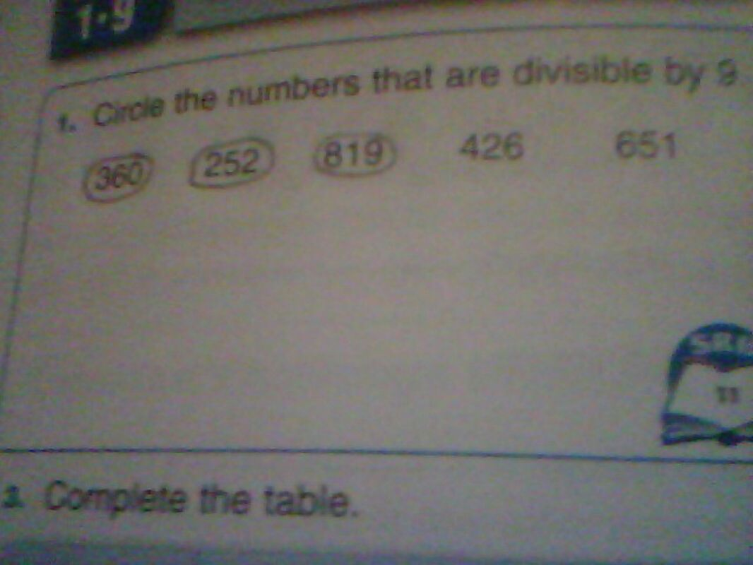 Circle the numbers that are divisible by 9