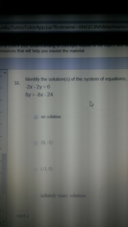 identify the solution the system of equation  -2x